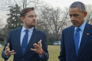 Leonardo DiCaprio with President Obama. For two years, Leonardo DiCaprio has criss-crossed the planet in his role as UN messenger of Peace on Climate Change. This film, executive produced by Brett Ratner and Martin Scorsese, follows that journey to find both the crisis points and the solutions to this existential threat to human species. The climate change feature documentary 'Before the Flood' airs globally on the National Geographic Channel October 30.